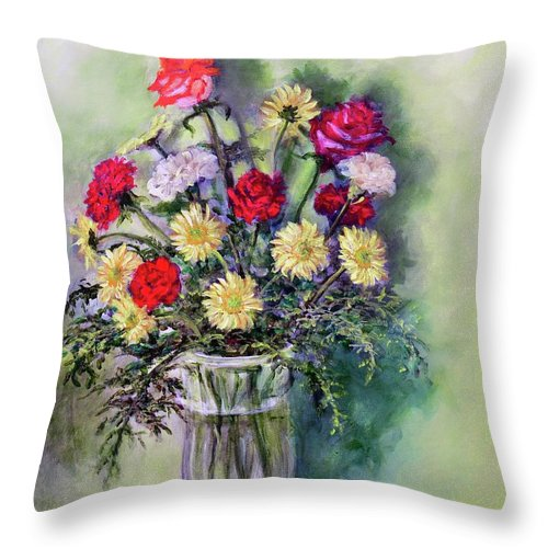 Birthday Throw Pillow featuring the painting Birthday Flowers by Randy Burns