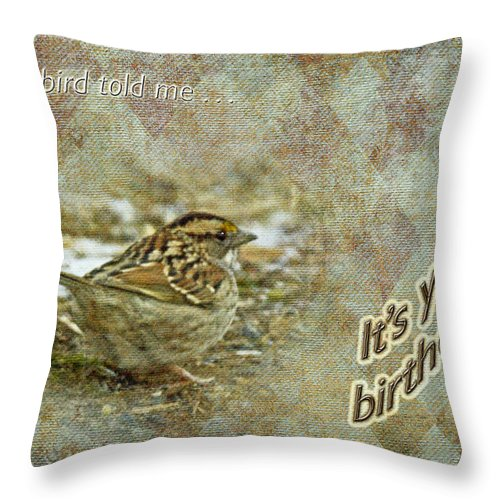 Birthday Throw Pillow featuring the photograph Birthday Greeting Card - White-throated Sparrow Songbird by Mother Nature