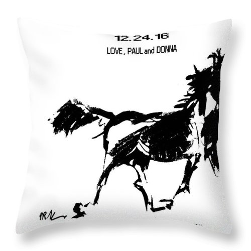 Horses Throw Pillow featuring the drawing Birthday Image by Paul Miller