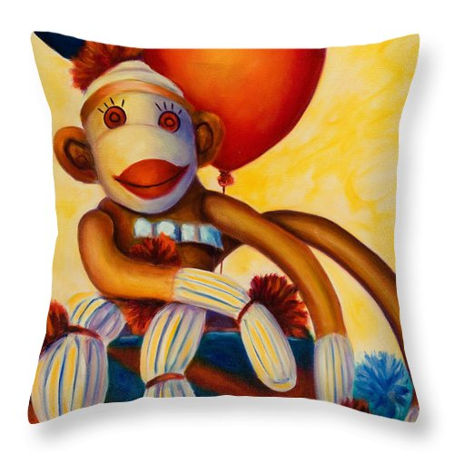 Sock Monkey Brown Throw Pillow featuring the painting Birthday Made Of Sockies by Shannon Grissom