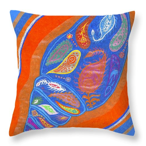 Beach Throw Pillow featuring the drawing Birthing by Michelle Meaney