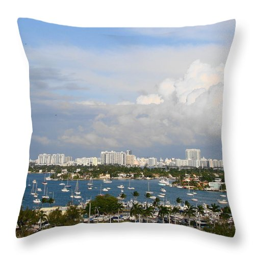 Miami Throw Pillow featuring the photograph Biscayne Bay by Margaret Bobb