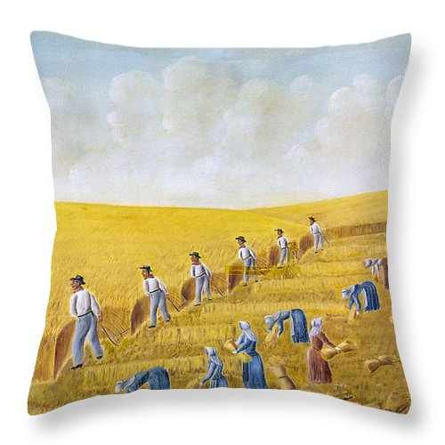 1875 Throw Pillow featuring the photograph Bishop Hill Colony, 1875 by Granger