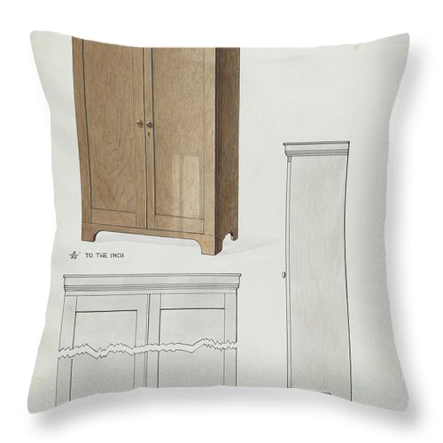 Throw Pillow featuring the drawing Bishop Hill: Cupboard by Wellington Blewett