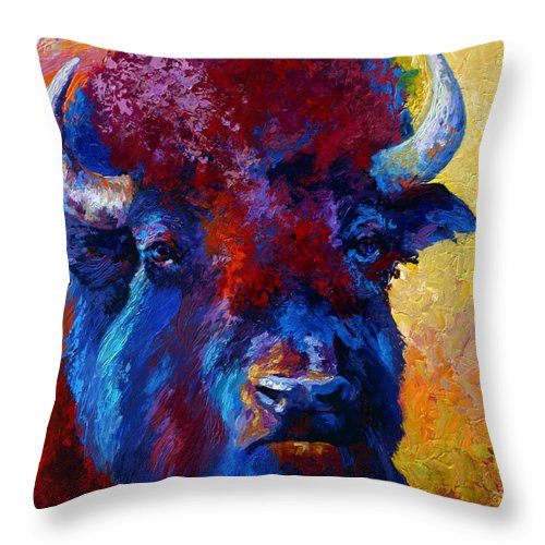 Wildlife Throw Pillow featuring the painting Bison Boss by Marion Rose