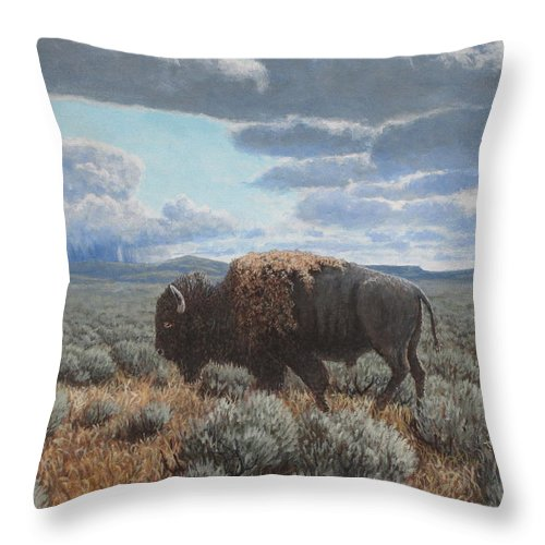 Landscape Throw Pillow featuring the painting Bison Bull on the prairie by Scott Robertson