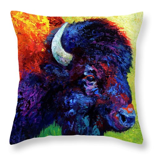 Bison Throw Pillow featuring the painting Bison Head Color Study IIi by Marion Rose
