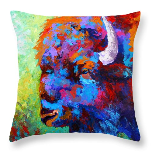 Wildlife Throw Pillow featuring the painting Bison Head II by Marion Rose