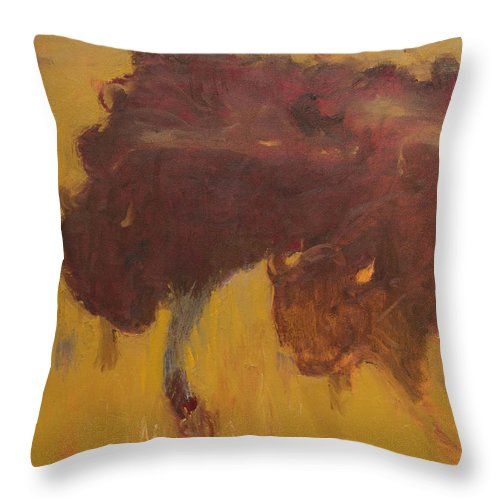 Bison Throw Pillow featuring the painting Bison Herd by Craig Newland