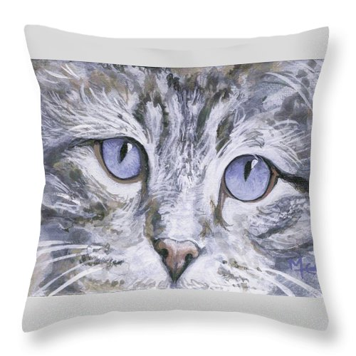 Charity Throw Pillow featuring the painting Bisous by Mary-Lee Sanders