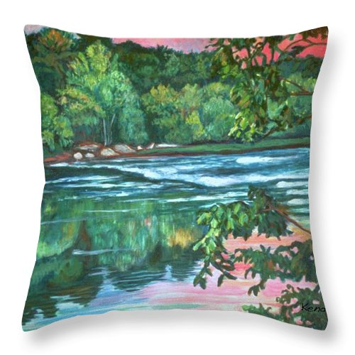 River Throw Pillow featuring the painting Bisset Park Rapids by Kendall Kessler