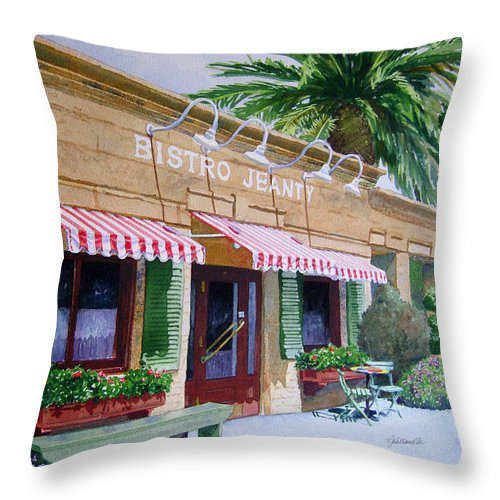 Bistro Jeanty Throw Pillow featuring the painting Bistro Jeanty Napa Valley by Gail Chandler
