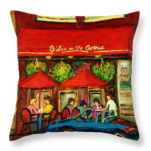Bistro On Greene Avenue Throw Pillow featuring the painting Bistro On Greene Avenue In Montreal by Carole Spandau