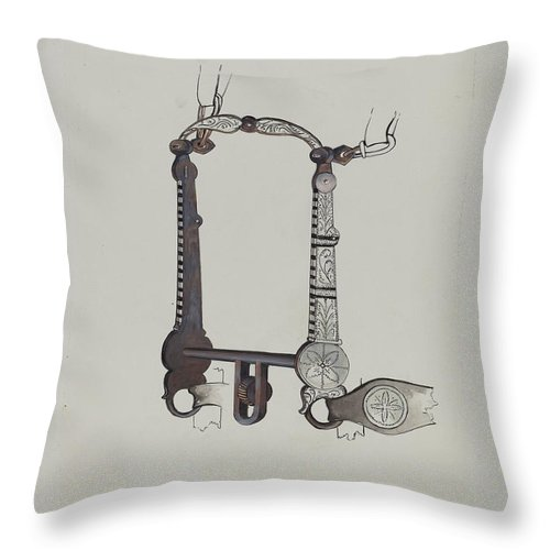 Throw Pillow featuring the drawing Bit by William Herbert
