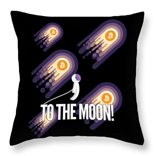 Bitcoin Throw Pillow featuring the drawing Bitcoin To The Moon Astronaut Cryptocurrency Humor Funny Space Crypto by Cameron Fulton