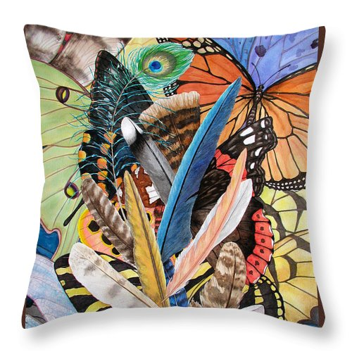 Feathers Throw Pillow featuring the painting Bits of Flight by Lucy Arnold
