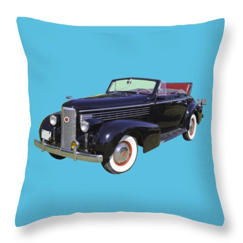 1938 Cadillac Lasalle Throw Pillow featuring the photograph Black 1938 Cadillac Lasalle by Keith Webber Jr