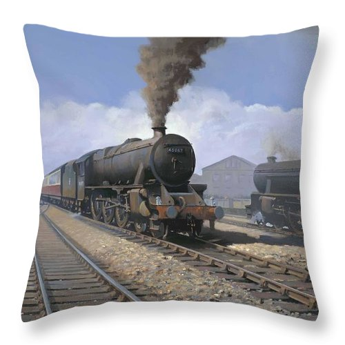 Railway Throw Pillow featuring the painting Black 5's by Richard Picton
