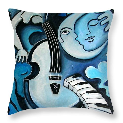 Abstract Throw Pillow featuring the painting Black And Bleu by Valerie Vescovi