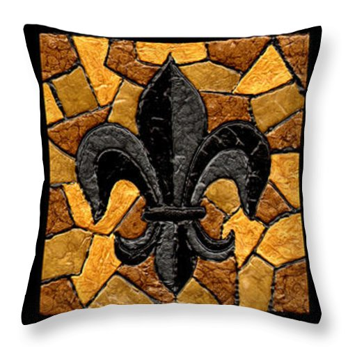 Black Throw Pillow featuring the painting Black And Gold Fleur De Lis Triptych by Elaine Hodges