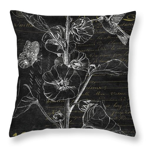 Hummingbird Throw Pillow featuring the painting Black And Gold Hummingbirds 1 by Debbie DeWitt