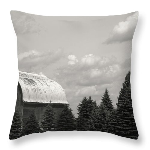 Black And White Barn Photographs Throw Pillow featuring the photograph Black And White Barn by Joann Copeland-Paul