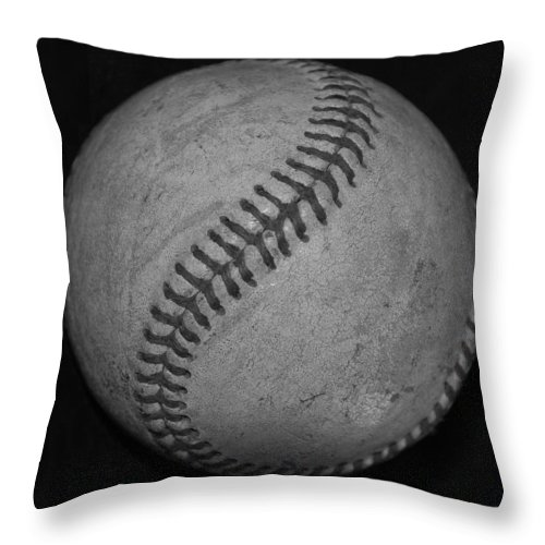 Baseball Throw Pillow featuring the photograph Black And White Baseball by Rob Hans
