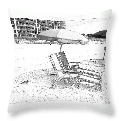 Black And White Throw Pillow featuring the photograph Black And White Beach Chairs by Michelle Powell