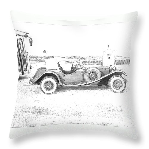 Black And White Car Throw Pillow featuring the photograph Black And White Car by Michelle Powell