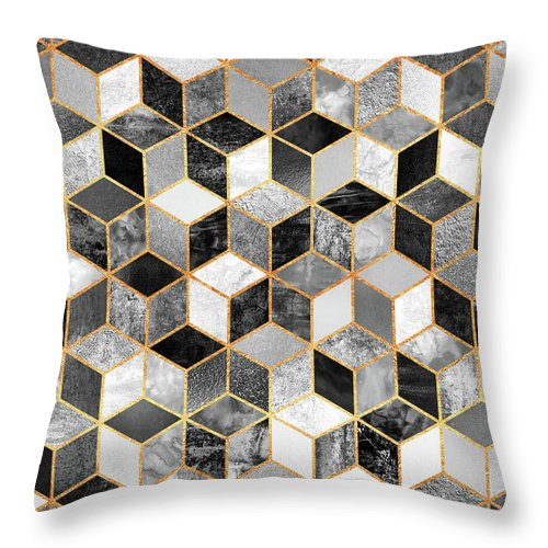 Graphic Design Throw Pillow featuring the digital art Black and White Cubes by Elisabeth Fredriksson