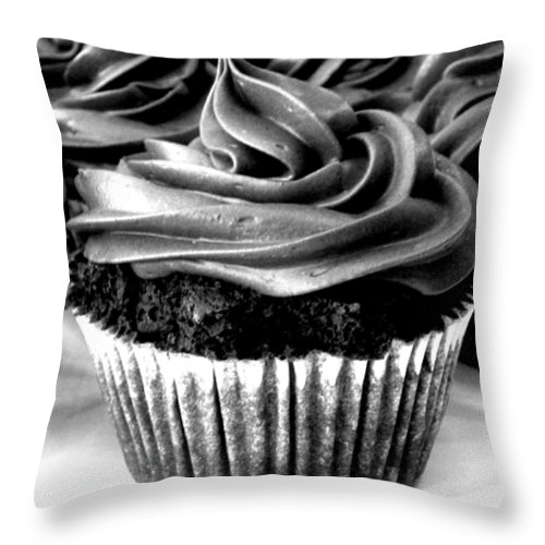 Cupcake Throw Pillow featuring the photograph Black And White Cupcakes by Stephanie Campbell