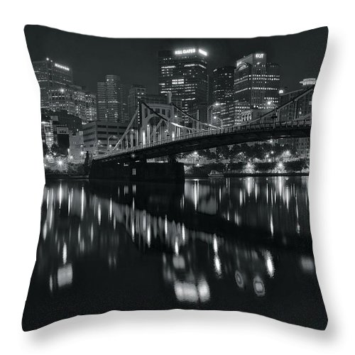 Pittsburgh Throw Pillow featuring the photograph Black And White Lights by Frozen in Time Fine Art Photography