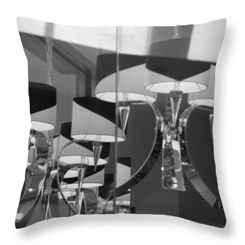 Chandeliers Throw Pillow featuring the photograph Black And White Lights by Rob Hans