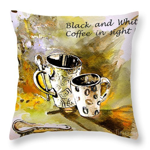 Cafe Crem Throw Pillow featuring the painting Black And White by Miki De Goodaboom