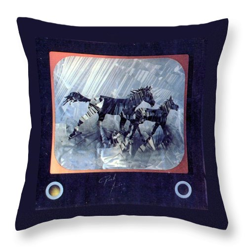 Wildlife Throw Pillow featuring the painting Black And White Nineteen Fifty Six by Rick Silas
