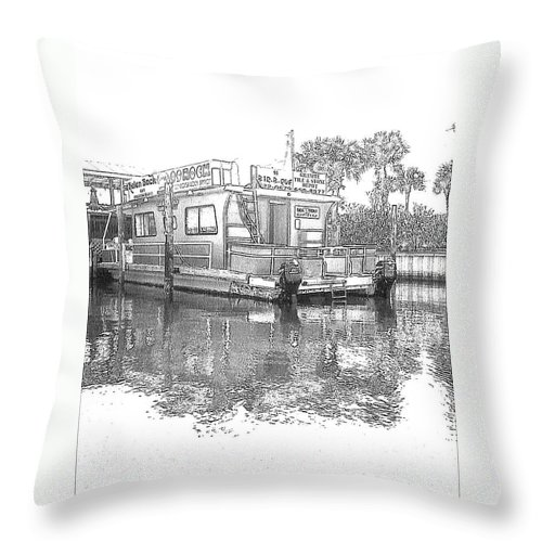 Black And White Throw Pillow featuring the photograph Black And White Party Boat by Michelle Powell