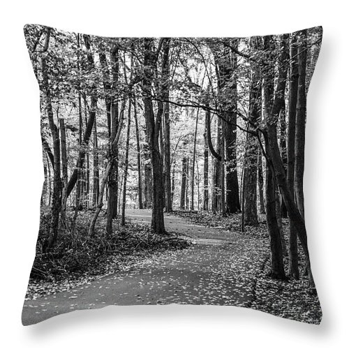 35mm Film Throw Pillow featuring the photograph Black And White Path In Autumn by John McGraw