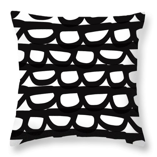 Modern Throw Pillow featuring the mixed media Black And White Pebbles- Art By Linda Woods by Linda Woods