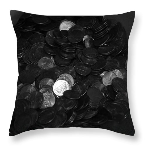 Abstract Throw Pillow featuring the photograph Black And White Pennies by Rob Hans