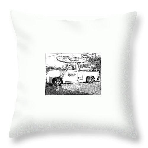 Black And White Throw Pillow featuring the photograph Black And White Sketch Truck by Michelle Powell