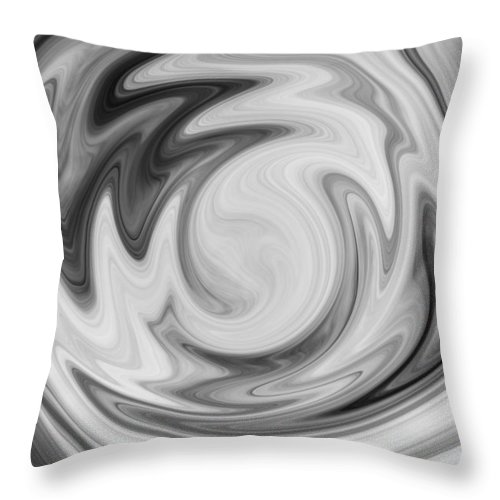 Black Throw Pillow featuring the digital art Black And White Swirl by Nielda Sanford