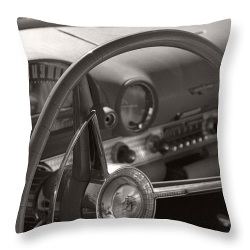 Black And White Photography Throw Pillow featuring the photograph Black And White Thunderbird Steering Wheel by Heather Kirk
