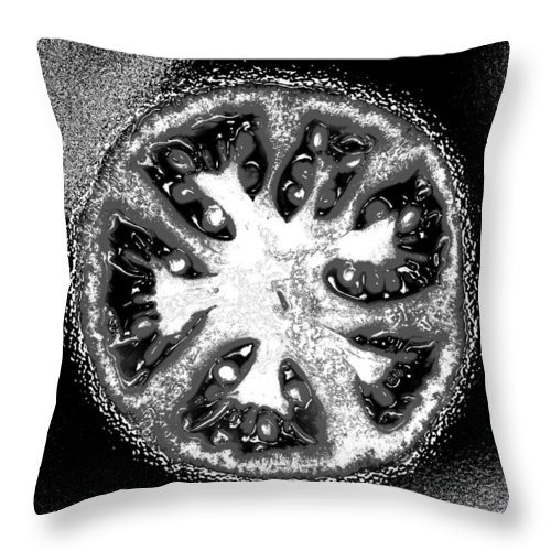Tomato Throw Pillow featuring the photograph Black and White Tomato by Nancy Mueller