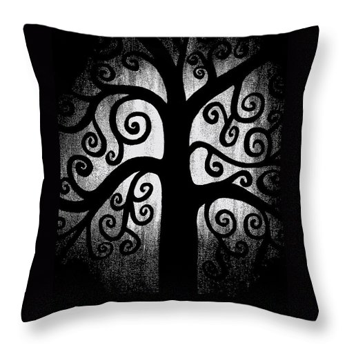 Black And White Throw Pillow featuring the painting Black And White Tree by Angelina Vick