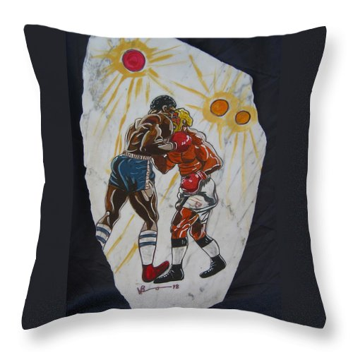 Boxing Throw Pillow featuring the mixed media Black And White by V Boge