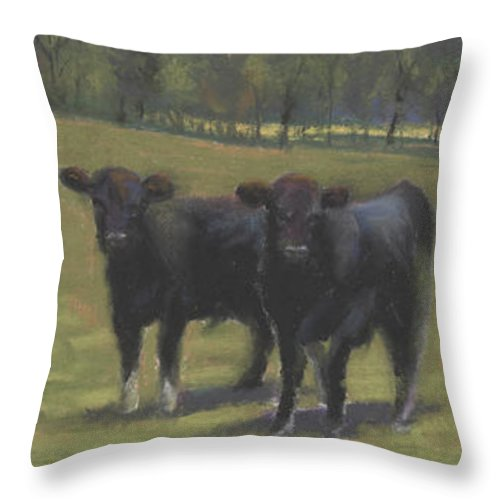 Black Angus Cow Painting Throw Pillow featuring the painting Black Angus Buddies by Terri Meyer