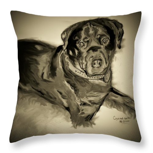 Black Dog Throw Pillow featuring the mixed media Black Angus by Crystal Webb