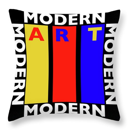 Primary Colors Throw Pillow featuring the painting Black Art by Charles Stuart