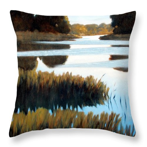 Water Throw Pillow featuring the painting Black Bayou by Kevin Lawrence Leveque