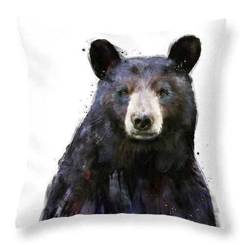Bear Throw Pillow featuring the painting Black Bear by Amy Hamilton